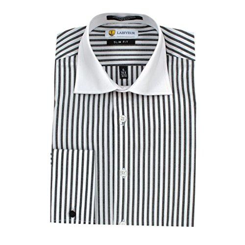 Labiyeur Men's Slim Fit Striped Dress Shirt L/16.5 | 34-35 Black/White Stripes