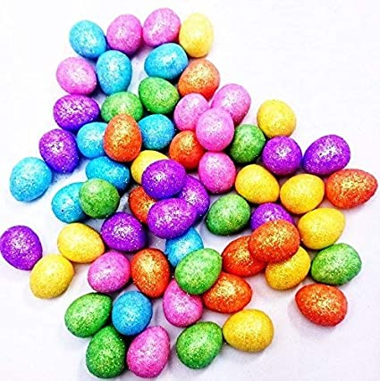 60 Glitter Mini Easter Eggs Hat Bonnet Party Decoration Art Craft