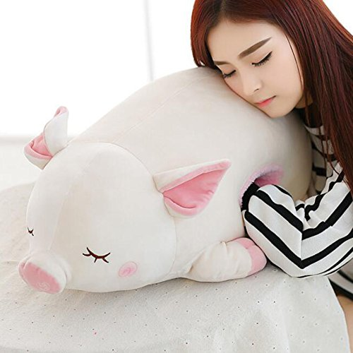 Dongcrystal 23.6 Inches Pink Sleeping Pig,Soft Plush Piggy Toy Stuffed Animals Pillow with Hand Warm