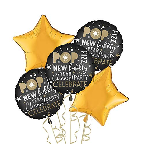 Party City Celebrate New Year's Eve Balloon Kit, Party Supplies, Black and Gold, Includes Balloons and Curling Ribbon -