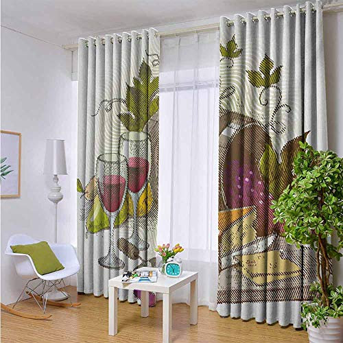 Andrea Sam Burgundy Curtains Wine,Vintage Style Composition with Wine and Cheese Fruits Gourmet Taste Beverage and Food,Multicolor,W42 by L84 Inch Home Garden Bedroom Outdoor Indoor Wall Decorations from Andrea Sam