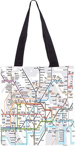 Snoogg London Tube Map 13.5 X 15 Pollici Shopping Bag Realizzato In Tela Di Poliestere