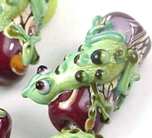 4 Lampwork Handmade Glass Green Red Lizard Hug Tree Beads -