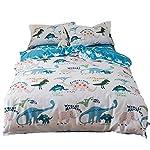 Lausonhouse 100% Cotton Dinosaur Print Duvet Cover Set for Kids Bedding