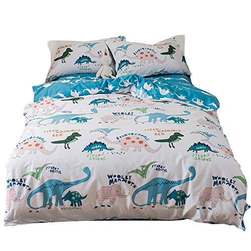 Lausonhouse 100% Cotton Dinosaur Print Duvet Cover Set for Kids Bedding - Twin
