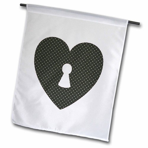 Patterned Center (3dRose fl_177728_1 Contemporary Black Circle Patterned Heart with a Keyhole in The Center Garden Flag, 12 by 18-Inch)