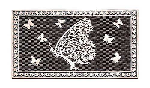 Copper Floral Rug - A1 Home Collections A1HOME200050 Shedding Tree with Butterflies Rubber Pin Doormat, 18