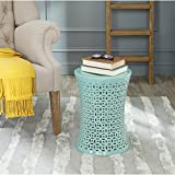Safavieh Castle Gardens Collection Camilla Aqua Glazed Ceramic Garden Stool