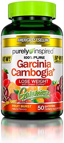 100% Garcinia Cambogia Gummies, Weight Loss Supplements with Green Coffee Extract, Natural Flavours, Fruit Burst, 50 Count