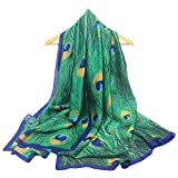HUAYI Women's Mulberry Silk Feel Shawl Peacock Feather Printing Long Scarf