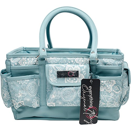 Everything Mary Deluxe Store & Tote Organizer 13.5''X10''X8''-Aqua & White Floral W/Aqua Trim by Everything Mary