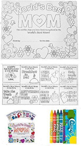 Mothers Day Crafts Color Your Own Best Mom Certificates and Gift Favor Coupons with Crayons ( 12 Sets) ()