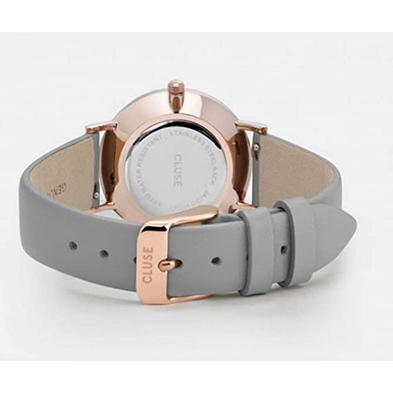 Amazon.com: CLUSE Minuit La Perle Rose Gold White Pearl Stone Grey CL30049 Womens Watch 33mm Leather Strap Minimalistic Design Casual Dress Japanese Quartz ...