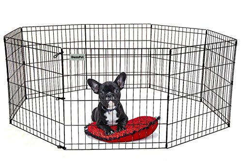 Exercise Pen Black Ultimate (DazzPet Dog Pen Puppy Playpen | 24