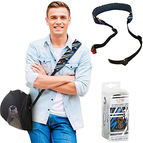 Motorcycle Helmet Carrier Strap - Hands-Free, Motorbike Accessory. Convenient, Lightweight and Comfortable Alternative to Helmet Bag or Backpack. A Perfect Biker Gift For Men and Women. Tricolor EZ-GO