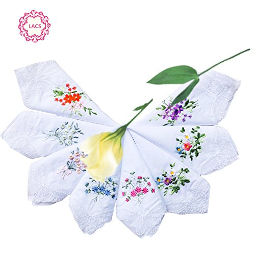 LACS Womens Embroidered Floral Cotton Lace Handkerchiefs White Hankies Pack -