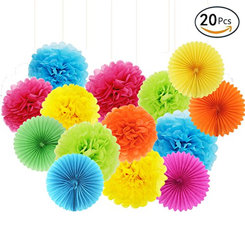 APLANET Set of 20 Rainbow Color Paper Pom Poms and Paper Folding...