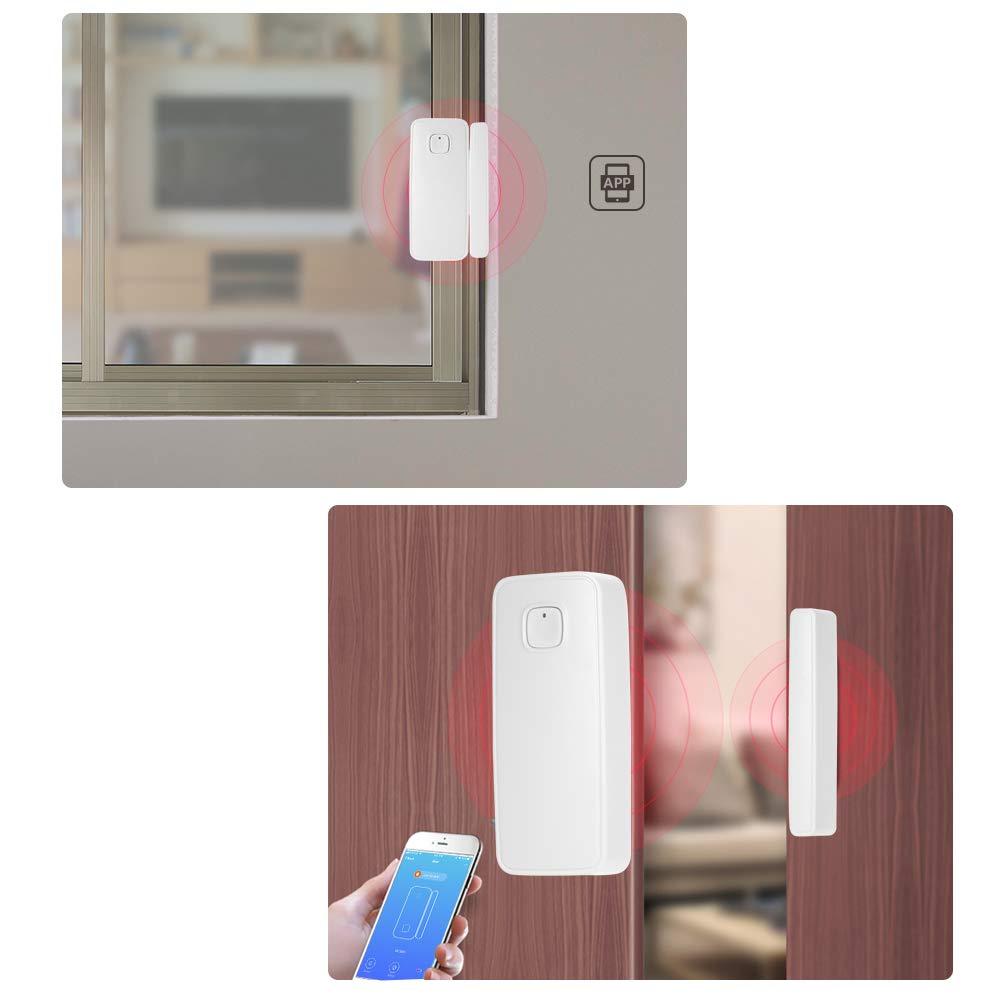 4PCS OWSOO Sensor de Puerta WiFi Inal/ámbrico Soporte Control de Tuya App Compatible con Alexa Google Home IFTTT