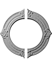 """Ekena Millwork CM13BN2 13 1/8"""" OD ID X 5/8"""" P Benson Ceiling Medallion, Two Piece (Fits Canopies up to 8""""), Factory Primed and Ready To Paint"""