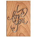 I Love You Calligraphy Laser Cut Wood Card (Love/5 Year Anniversary/Boyfriend or Girlfriend/Valentine's Day)