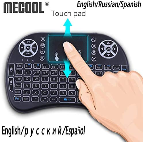 Color: Green Calvas i8 Russian Spanish English 2.4GHZ mini backlight gaming Wireless Keyboard Backlit Touch Pad air mouse for Laptops Smart tv box A