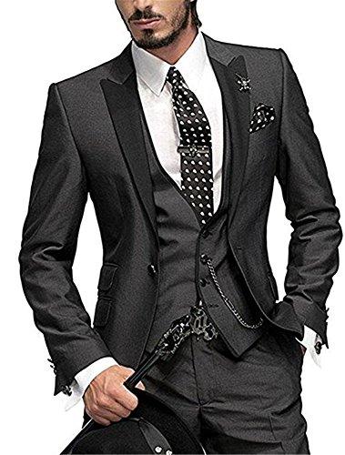 Men's Suits 3 Piece Slim Fit One Button Groom Suits Blazer Vest& Pants ()