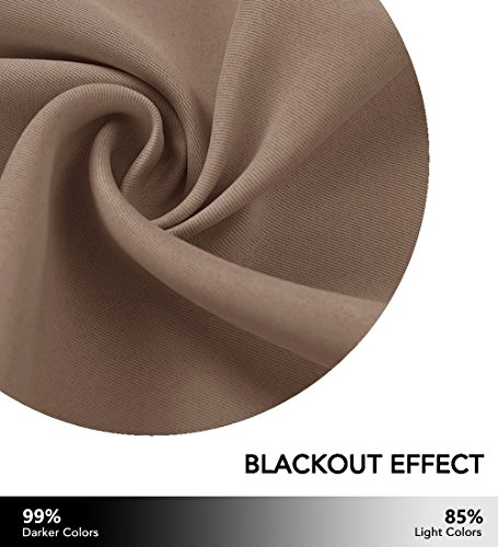 PONY DANCE Blackout Curtains Set - Window Draperies Thermal Insulated Home Decoration Energy Saving Back Tab/Rod Pocket Curtain Panels Bedroom, 42-inch 45-inch, Mocha, 2 Pcs