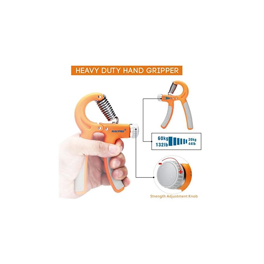 RISEPRO 132LB/60kg Hand Gripper, Hand Strengthener Non Slip Gripper Hand Exerciser Strength Trainer for Athletes Pianists Kids Adjustable Resistance Set of 4 with 3 Grip Rings HG2060 3R