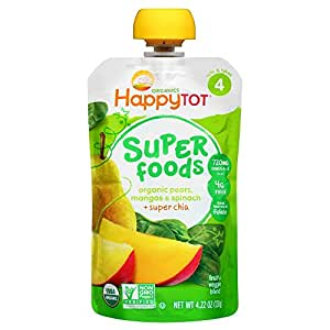Happy Tot Organic Stage 4 Super Foods Pears Mangos and Spinach + Super Chia 4.22 Ounce (Pack of 16), Non-GMO, Gluten Free,3g of Fiber, Excellent source of vitamins A & C