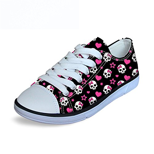 Price comparison product image FOR U DESIGNS Cute Skull Print Canvas Lightweight Girls Low-Top Fashion Sneaker Pink Black US 12