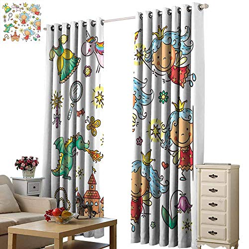 Beihai1Sun Window Curtain Finished Drapes Fairy Cartoon Princess Pattern with Magic Wand Dragon Dress Unicorn and Crown Little Child Multicolor for Living Room Bed Room W72 x H108 -