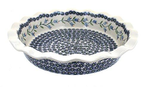 Blue Rose Polish Pottery Tulip Pie Plate