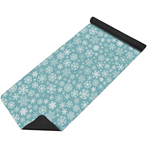 Christmas Snowflakes Image Dark Blue Fitness Mat Lightweight Classic for All Types of Yoga