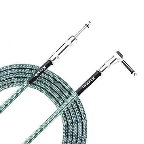 Kinmoku Guitar Instrument Cable 10 FT TS Solid Bass Cable Standard 1/4 Inch Instrument Cable Braided Jacket Audio Signal Cord Right Angled Jack to Straight Jack Cable for Guitar Amplifier