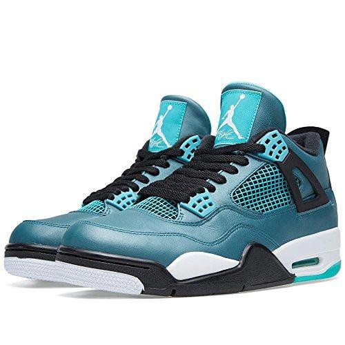 "Nike Herren Air Jordan 4 Retro 30. ""Teal"" Teal / Weiß-Schwarz Leder Basketball Schuhe Blaugrün / Weiß-Schwarz"