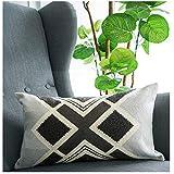 "Lananas Lumbar Small Decorative Throw Pillows Bed Grey Pillow Covers Embroidery Boho 12""x 20"""