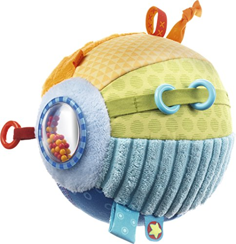 - HABA Discovery Ball All Colors - Soft Colorful Tactile Patterns with Rings, Tags, Rattle & Mirror