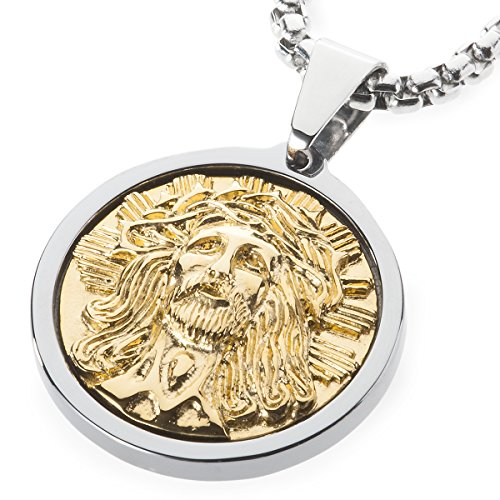 GESTALT COUTURE Unique Tungsten Medallion Necklace. Stainless Steel Jesus Christ Inlay with 18kt Gold Plating. 30 inch Chain.