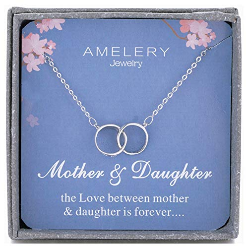 (Amelery Mother Daughter Necklace Sterling Silver Two Interlocking Infinity Double 2 Circles CZ Crystal Pendants, Mothers Day Jewelry Birthday Gifts Mom for Women)