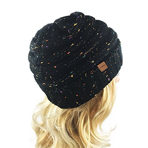Women\'s Warm Chunky Thick Stretchy Knit Beanie Skull Cap (Black)