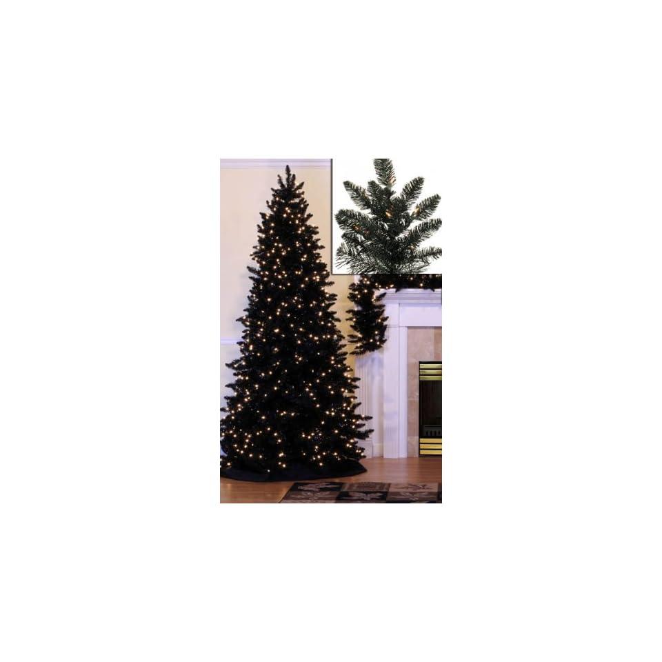 12 Pre Lit Slim Black Ashley Spruce Artificial Christmas Tree   Clear