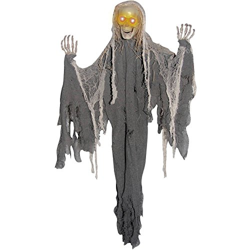 WM Light Up Animated Reaper Skeleton Halloween Decorations - Flashing Eyes, Moving Arms and Spooky Sounds - 3 ft tall ()