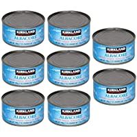 Kirkland Albacore Solid White Tuna in Water - 8 Cans (Total Net Weight 3.5lbs) - 2 pack