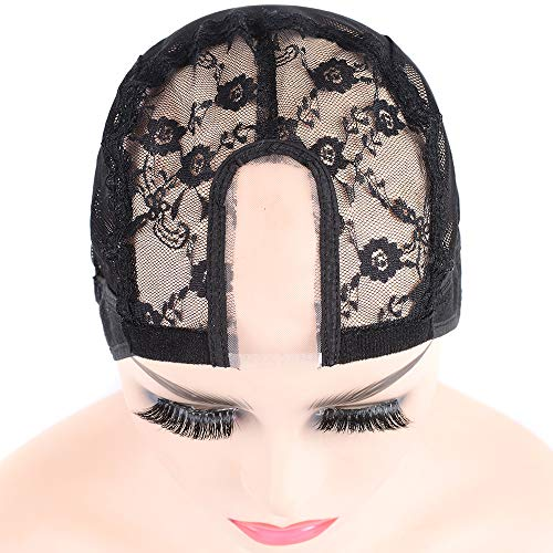 Cadiro U Part Wig Caps for Women for Making Wigs with Adjustable Strap Free Size Black Dome Mesh Wig Cap Large Size Wig Cap (L=22 Inch)