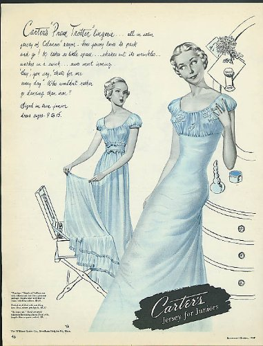Carter's Prom Trotter Lingerie ad 1948 nightgown pettislip
