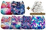 Mama Koala Cloth Diapers, 6 Pack with 12 Bamboo Inserts (Supernova Bamboo)