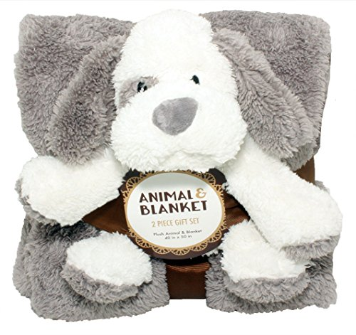 - SILVER ONE Sherpa Plush Stuffed Animal and Throw Blanket 2 Peice Gift Set for Kids/Children | 40