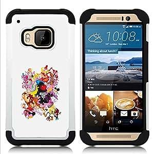"""Pulsar ( Dibujo Smiley Tetas Culo Mujer Cuerpo"""" ) HTC One M9 /M9s / One Hima híbrida Heavy Duty Impact pesado deber de protección a los choques caso Carcasa de parachoques"""