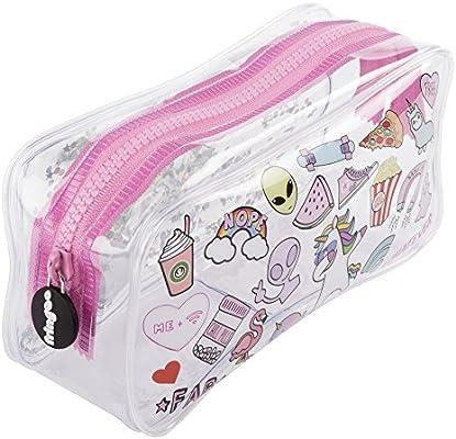 Estuche escolar Fringoo®, diseño líquido y transparente, color Teen Doodles Large: Amazon.es: Oficina y papelería