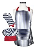 Handstand Kitchen Child's Bold Navy Stripe 100% Cotton Apron, Mitt and Chef's Hat Gift Set